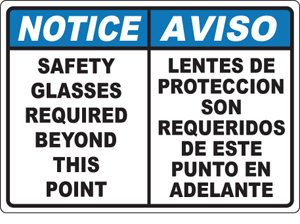 NoticeAviso safety glasses